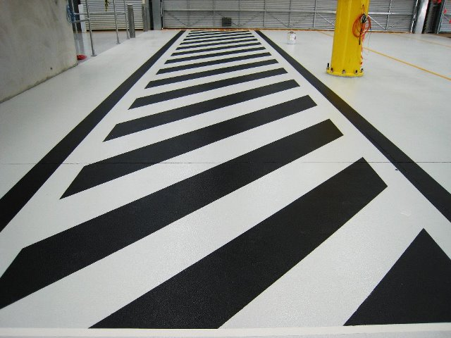 Safety line marking black and white