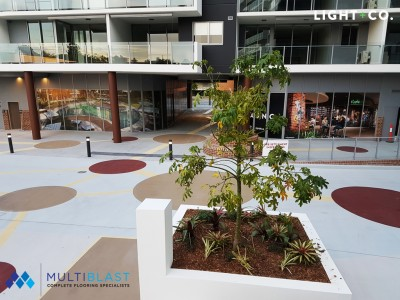 Coloured floor coating for outdoor carpark in Brisbane