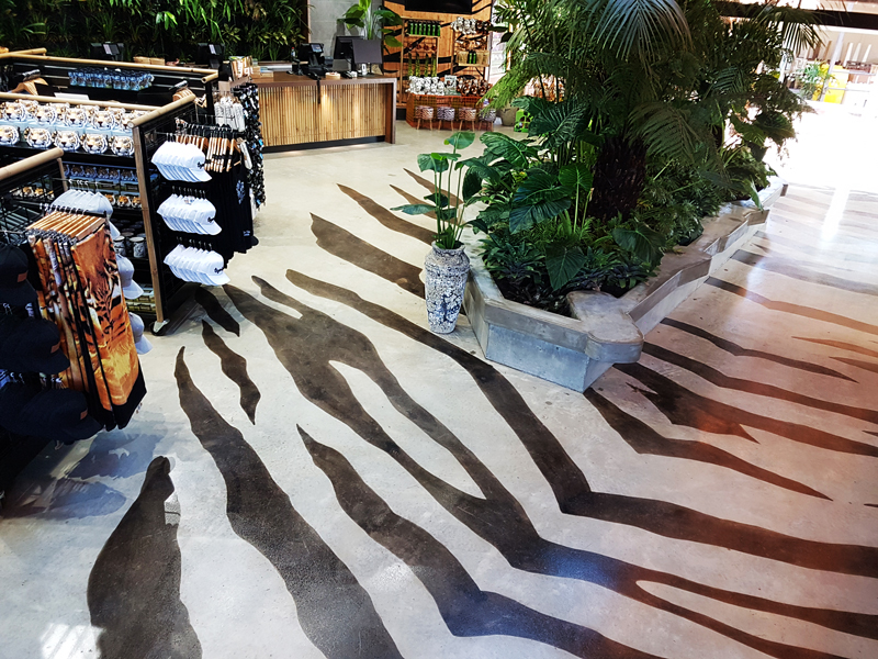 Acid stained commercial shop floor by Multiblast commercial flooring Brisbane