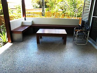 Polished concrete flooring on patio Gold Coast