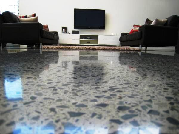 Polished concrete floor inside living room of residential flooring customer Brisbane